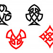 Poker card symbols in celtic style — Stock Vector