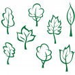Icons and symbols of green trees — Stock Vector