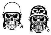 Warrior and pilot skulls — Stock Vector