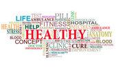 Hälso- och sjukvård taggar moln — Stockvektor