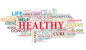 Zdraví a péče tagy mrak — Stock vektor