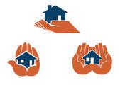 House in hands — Stock Vector
