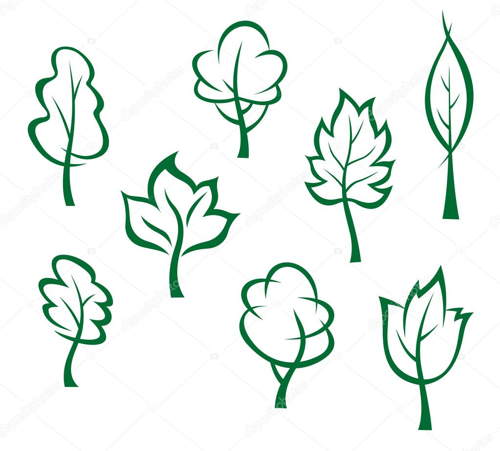 Icons and symbols of green trees in cartoon style — Stock Vector #13197784