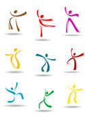 Dancing peoples pictograms — Stock Vector