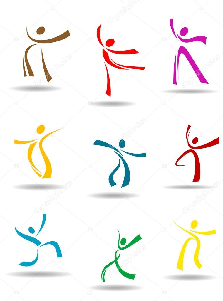 Dancing peoples pictograms for entertainment or sports design — Stock Vector #13383506