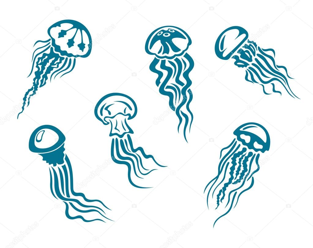 Danger jellyfishes set for underwater and sealife design  Stock Vector #13383528