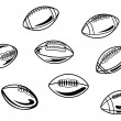 Rugby and american football balls - Stock Vector