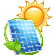 Royalty-Free Stock Vektorový obrázek: Solar panel and batteries with sun symbol