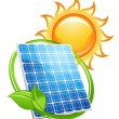 Solar panel and batteries with sun symbol - Stock Vector