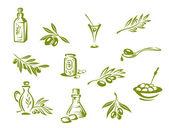 Aceitunas verdes y aceite orgánico — Vector de stock