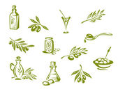Green olives and organic oil — Vector de stock