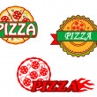 Stok Vektör: Tasty pizza banners and emblems