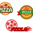 Stock Vector: Tasty pizzbanners and emblems