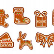 Gingerbread holiday objects — Stock Vector