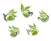 Green herbal tea symbols — Vettoriale Stock