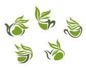 Green herbal tea symbols — Stock Vector