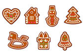 Gingerbread christmas objects — Stock Vector