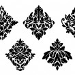 Stock Vector: Set of vintage floral patterns and embellishments