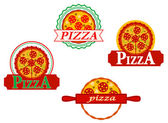 Italian pizza banners and emblems — Stock Vector