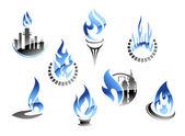 Símbolos de la industria de gas y petróleo — Vector de stock