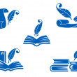 Books, manuscripts and feathers icons — Stock Vector