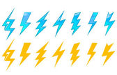 Bliksem pictogrammen en symbolen — Stockvector