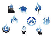 Gas industry symbols and icons — Stock Vector