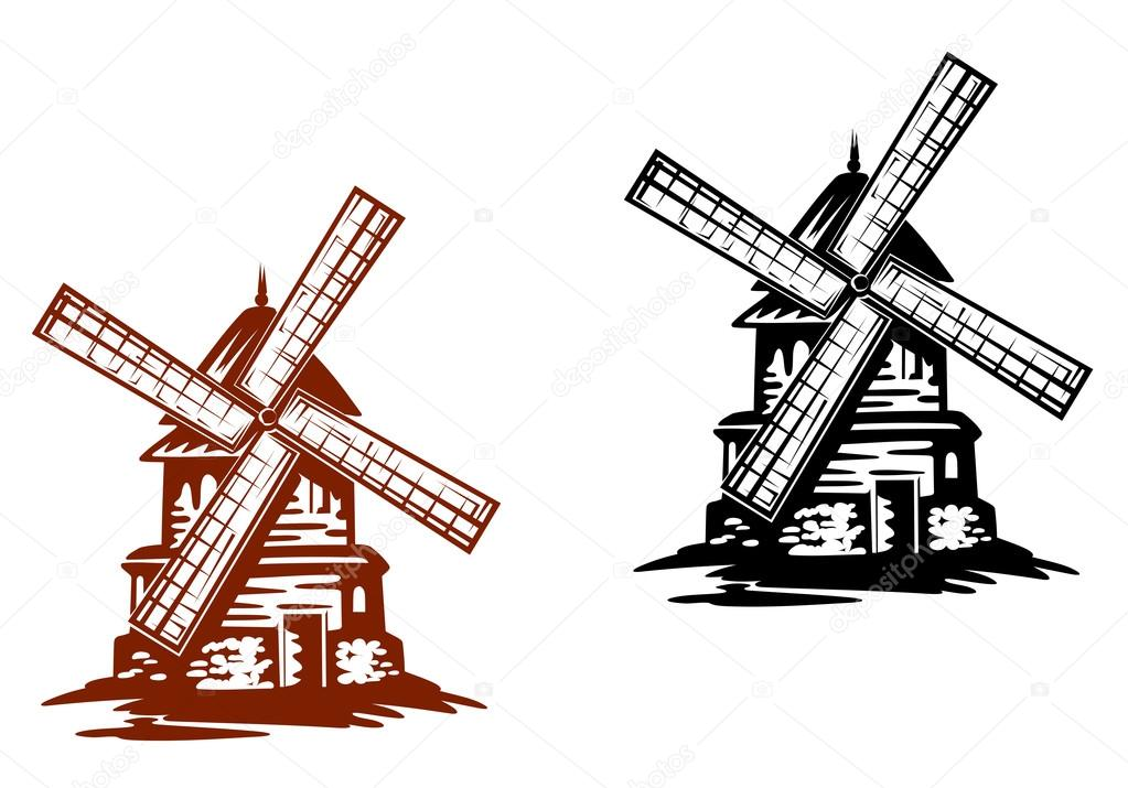 Ancient windmills in black and brwon colors for agriculture industry design — Stock Vector #16275557