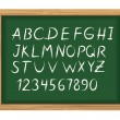 Stock Vector: School board with chalk alphabet letters