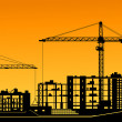 Royalty-Free Stock Vektorfiler: Working cranes on construction site
