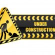 Under construction icon and warning sign - Stock Vector