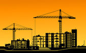 Working cranes on construction site — Vector de stock