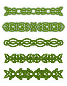 Green celtic ornaments and embellishments — Stock Vector