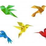 Origami hummingbirds set — Stock Vector #18395291