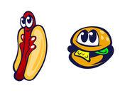汉堡包和热狗 — 图库矢量图片