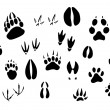 Animal footprints silhouettes — Stock Vector