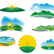 Royalty-Free Stock Imagen vectorial: Ecological and nature symbols isolated on white, such a logo.