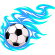 Football or soccer ball with flames. — Stock Vector