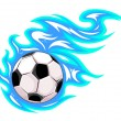 Football or soccer ball with flames. — Stock Vector #19252377