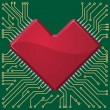 Motherboard heart chip on microcircuit background. — Stock Vector