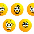 Expression icons and smiles. — Imagen vectorial