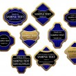 Set of blue luxury labels and banners with gold frames, such logo. Jpeg version also available in gallery - Stock Vector
