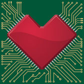 Placa base corazón chip sobre fondo microcircuito. — Vector de stock