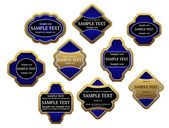 Set of blue luxury labels and banners with gold frames, such logo. Jpeg version also available in gallery — Stock Vector