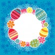 Easter frame with eggs and flowers - Stock Vector