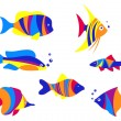 Abstract colorful aquarium fishes — Stock Vector