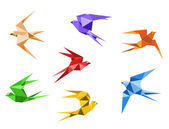 Origami swallows — Stock Vector