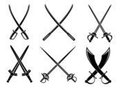 Swords, sabres and longswords set — Stock Vector