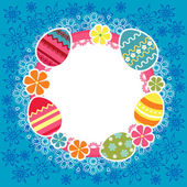 Easter frame with eggs and flowers — Cтоковый вектор