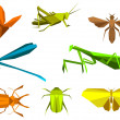 Insects in origami paper elements — Stock Vector